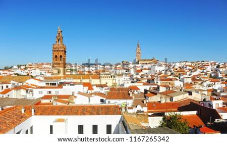 Panoramic view of Jerez de los Caballeros, province of Badajoz, Spain