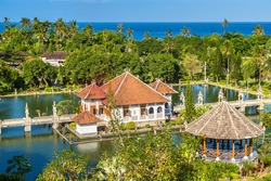 Panoramic view of Karangasem Taman Ujung, Water Palace on Bali, Indonesia in a sunny day