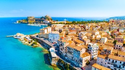 Panoramic view of Kerkyra, capital of Corfu island, Greece