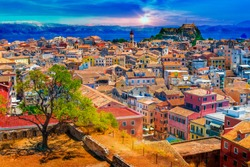 Panoramic view of Kerkyra, capital of  Corfu island, Greece.