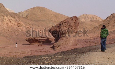 Panoramic view of King Solomon's mines, rock mushroom - Park Timna Valley in Eilat, Israel.