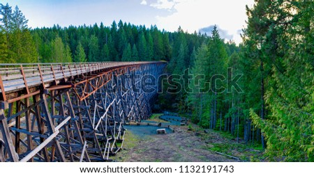 Panoramic view of Kinsol Trestle wooden railroad bridge in Vancouver Island, BC Canada.