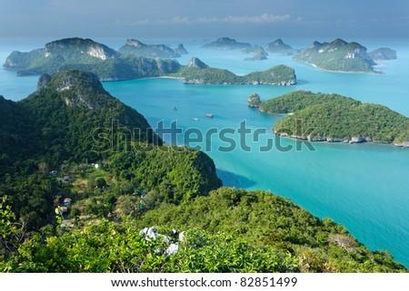 panoramic view of ko angthong tropical marine park in Thailand