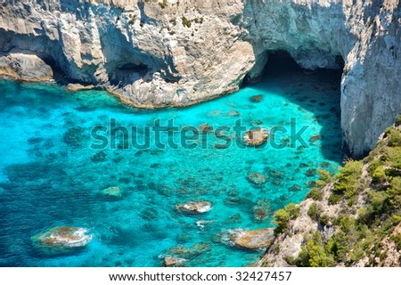 Panoramic view of Kryfo beach and caves in Keri, Zakynthos, Greece. - stock photo