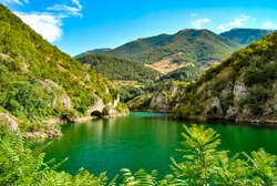 Panoramic view of Lago di Scanno, a mountain lake in the Apennines, province of L'Aquila, Abruzzo region, Italy.