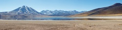 Panoramic view of Lagunas Miscanti and Meniques in Atacama desert