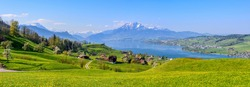 Panoramic view of Lake Lucerne, green alpine meadows blooming in spring time and the Alps mountains range with Mount Pilatus, Switzerland