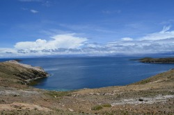 Panoramic view of Lake Titicaca, from Isla del Sol, Bolivian side of the lake.