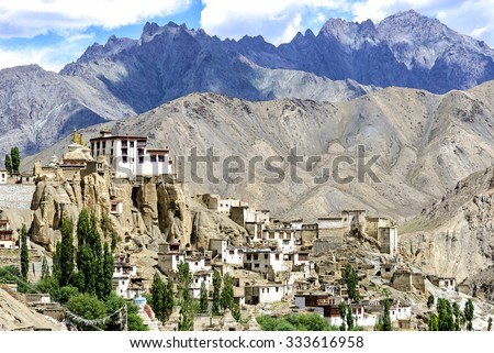 Panoramic view of Lamayuru monastery in Ladakh, India. Lamayuru is a Tibetan Buddhist monastery situated on the Srinagar-Leh highway 15 kilometres east of the Fotu La at a height of 3,510 metres.