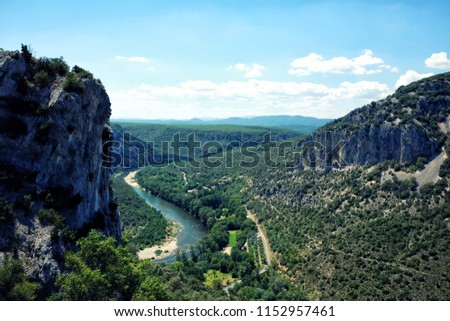 Panoramic view of landscape of Gorges de l'Ardeche in France. Ardeche canyon on a sunny summer day. #1152957461