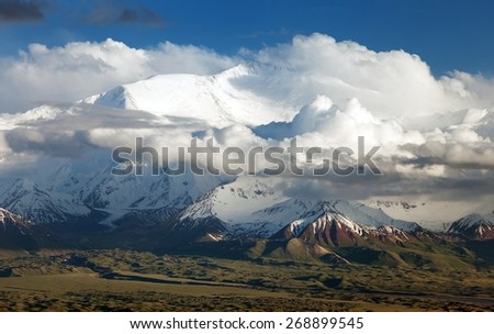 "Panoramic view of Lenin Peak from Alay range - Kyrgyz Pamir Mountains - Kyrgyzstan and Tajikistan border- Central Asia ""Roof of the World"""