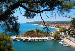 Panoramic view of Limenaria village in Thassos island, Greece