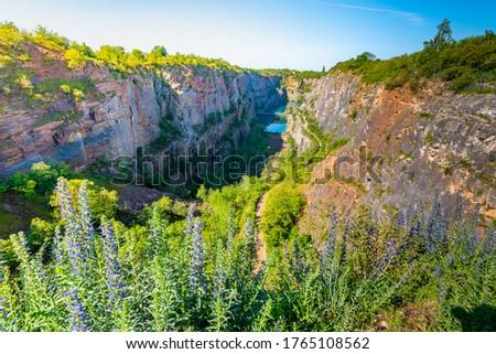 Panoramic view of limestone quarry of Small America (Mala America in czech speak). Czech Republic - Bohemia. Stok fotoğraf ©