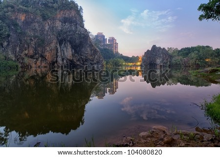 Panoramic view of Little Gui-lin in Singapore - stock photo