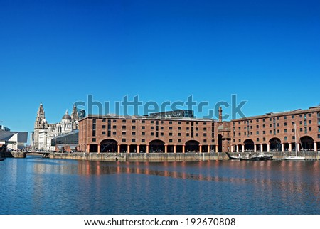Panoramic View of Liverpool's historic waterfront, Albert Dock and Liver Buildings