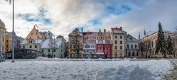 Panoramic view of Livu square in old town of Riga in winter, Riga, Latvia.