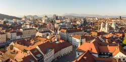 Panoramic view of Ljubljana, capital of Slovenia, at sunset. Empty streets of Slovenian capital during corona virus pandemic social distancing measures in 2020.