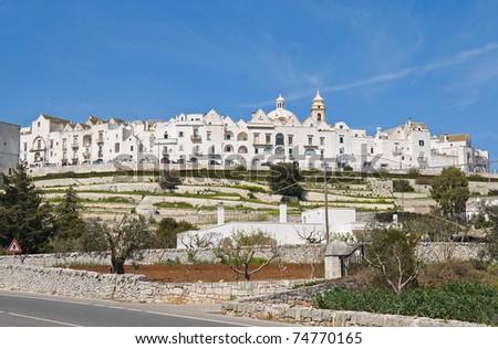 Panoramic view of Locorotondo. Apulia. - stock photo