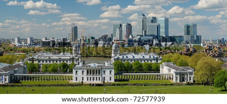 Panoramic view of London City with Canary Wharf  and National Maritime Museum from Greenwich