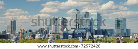 Panoramic view of London City with Canary Wharf from Greenwich