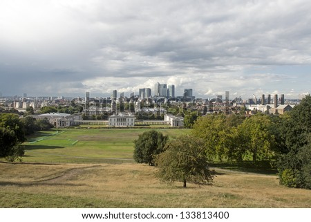 Panoramic view of London Docklands from Greenwich