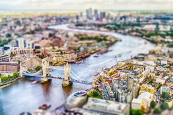 Panoramic View of London, over the river Thames towards Canary Wharf and Eastern London. Tilt-shift effect applied