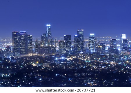 Panoramic view of Los Angeles city skyline at night