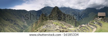 Panoramic view of lost Inca city of Machu Picchu, Peru.