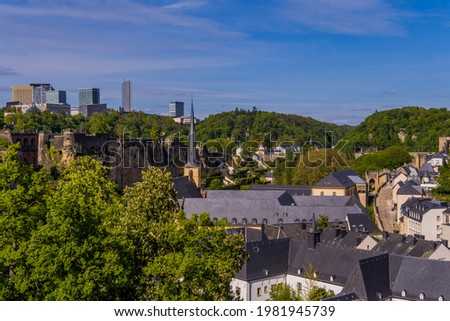 Panoramic view of Luxembourg-City, Luxembourg with medieval buildings in the Grund Lower City and Kirchberg skyline Stock photo ©