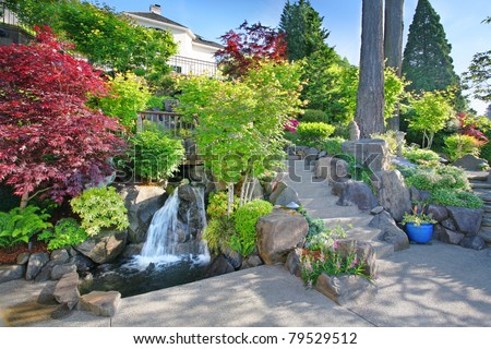 Panoramic View of Luxury Home Backyard, Professionally Landscaped with Waterfalls and Lush Vegetation