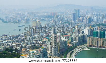 Panoramic view of Macau, China, which is one of the World's famous gambling destinations.