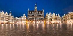 Panoramic view of majestic Grand Place Square with King's House or Breadhouse at night in Belgium, Brussels