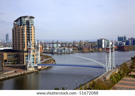 Panoramic view of Manchester from Salford Quays