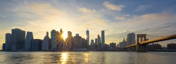 Panoramic view of Manhattan at sunrise, New York City.