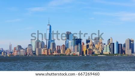 Stock Photo panoramic view of Manhattan skyline