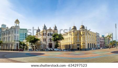 Panoramic view of Marco Zero Square at Ancient Recife district - Recife, Pernambuco, Brazil Foto stock ©