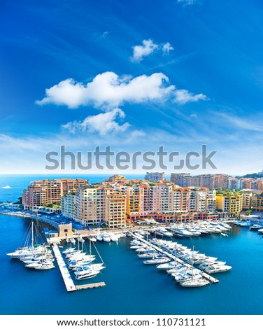 panoramic view of marina and Fontvieille, new district of Monaco #110731121