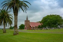 Panoramic view of Matakohe, home of the world famous Kauri Museum, North Island, New Zealand