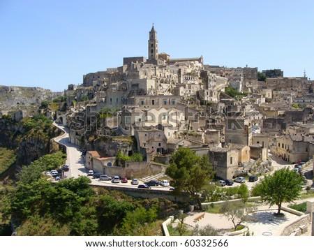 Panoramic view of Matera, Italy