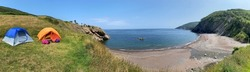 Panoramic view of Meat Cove campgrounds at the north tip of Cape Breton Island Nova Scotia
