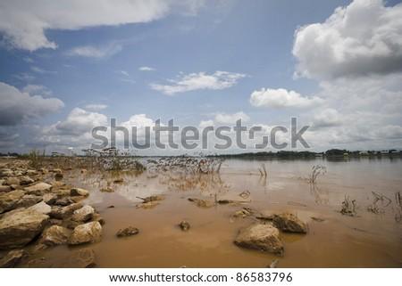 panoramic view of mekong river in vientiane, laos