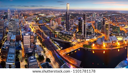 Panoramic view of Melbourne Australia at dusk #1101781178