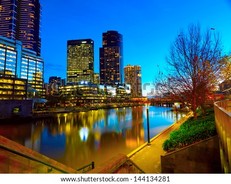 Panoramic view of Melbourne from Southbank Bridge
