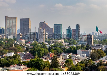 Panoramic View of Mexico City with flag  - Mexico-Polanco.