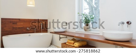 Panoramic view of modern bathroom in african style #275818862