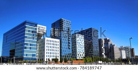 Panoramic View Of Modern buildings in Oslo, Norway  #784189747