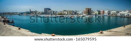 Panoramic view of Mola di Bari's harbor in the south of italy Foto stock ©