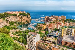 Panoramic view of Monaco City and the port of Fontvieille, Principality of Monaco, Cote d'Azur, French Riviera