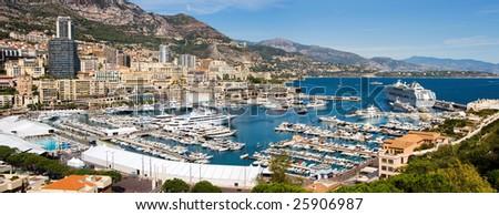 Panoramic view of Monaco harbor