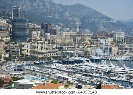 Panoramic view of Monaco harbor, Monte Carlo